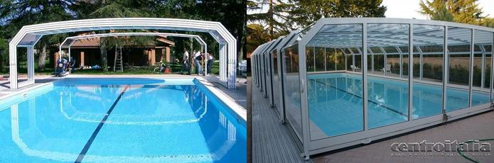 Copertura telescopica per piscina montaggio